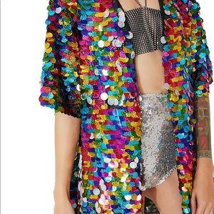 Jackets & Coats - Rainbow Sequin Kimono